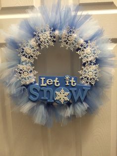 Items similar to Let It Snow Tulle Wreath on Etsy Winter Christmas, Christmas Crafts, Christmas Decorations, Xmas, Snow Fairy, Tulle Wreath, Winter Wreaths, Snow And Ice, Wreath Tutorial