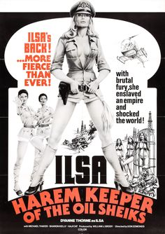 Ilsa, Harem Keeper of the Oil Sheiks, Dyanne Thorne, 1976 Movies Art Print - 46 x 61 cm Horror Movie Posters, Movie Poster Art, Horror Movies, Creepy Movies, Theatre Posters, Pulp Fiction, Vintage Movies, Vintage Posters, Russ Mayer
