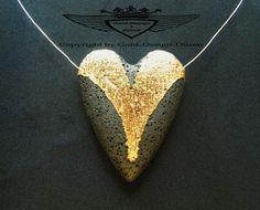 Echter Lavastein, 24 Karat vergoldet, Kettenanhänger, Herzform, Handarbeit, Edel