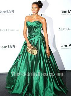 Denny Mendez Green A-Line Formal Dress amfAR Milano Gala 2013 - TheCelebrityDresses