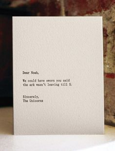 Uni-humor.(good card for an apology for tardiness) ; )