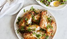 Simple Roast Chicken  This is a total no-fuss roasted chicken: lemon for brightness, herbs for a springy zing, and 45 minutes in a hot oven for crisp chicken perfection.
