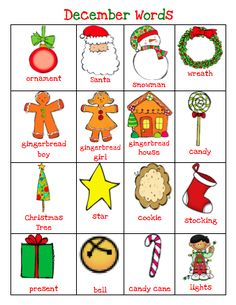 Free! December Word cards....2 pages from The Very Busy Kindergarten