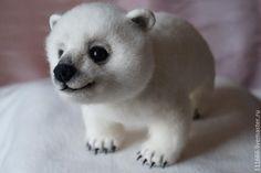 """Игрушка из шерсти""""Медвежонок Сахарок"""" - белый,Сухое валяние,игрушка из шерсти"""