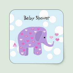 Cute Baby Elephant Baby Shower Sticker