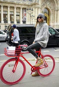 Red Bike with red Copenhagen bikeporter