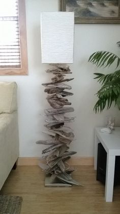 stacked driftwood floor lamp by PaulMatthewsStudios on Etsy, $425.00