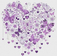 Purple Butterfly Heart PDF Cross Stitch door XSquaredCrossStitch
