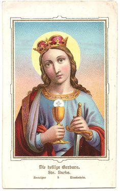 St. Barbara Antique Vintage German Holy Prayer by 12StarsVintage