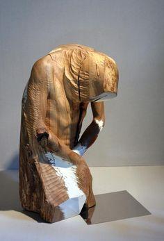 jerzy fober, kuszenie pewnego świętego, 1999, drewno polichromowane