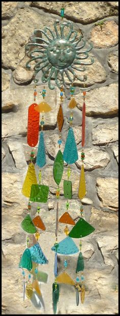 "Sun Design Wind Chime - Multicolor Stained Glass - 36"" long $169.95 - Stained Glass Sun Catchers, Stained Glass Wind Chimes, Handcrafted Stained Glass Designs, Suncatchers -  - From Accent on Glass  - www.AccentonGlass.com"
