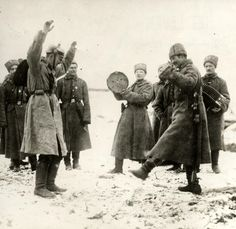 It is hard to hate someone when you get to know them. The Great War. First World War, Russian army. The Russians teaching the German prisoners of war the cossack dance. The Eastern front, Russia, Wilhelm Ii, Kaiser Wilhelm, History Online, World History, History Pics, European History, World War One, First World, Prisoners Of War