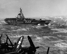 USS Midway during gale east of Sicily, Italy, released February Photographed from USS Philippine Sea (CVB U. Navy Photograph, now in the collections of the National Archives. Us Navy Aircraft, Navy Aircraft Carrier, American Aircraft Carriers, Hms Hood, Navy Carriers, Military Helicopter, Navy Ships, United States Navy, Water Crafts