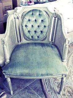 chair velvet, button tufted, wicker