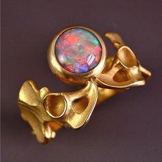 """Pelvis Ring"" by Kim Eric Lilot. Australian Fire Opal, 18 karat gold."