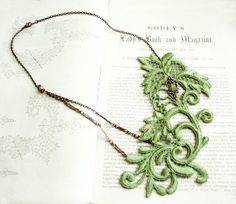 lace necklace CECELIA green apple by tinaevarenee on Etsy, $42.00