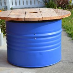 Drum Table Complete. #table #drum #44gallon #upcycled #upcycle #blue #wood #industrial #rustic #furniture #handmade #mancave by paddedcellpictures