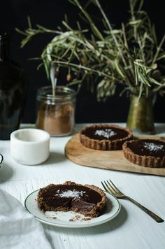 CHOCOLATE GANACHE TART WITH CHOCOLATE OLIVE OIL CRUST