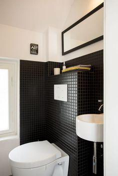 Men bathroom design Black bathroom