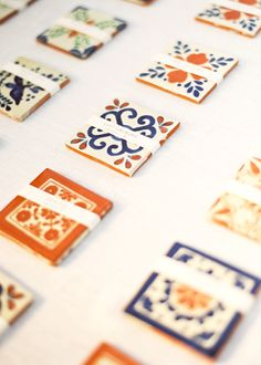 Spanish tiles.  Would be cute for placecards.