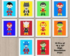 Superhero Wall Print Superhero Wall Art Superhero by KidzParty
