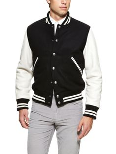Black and white university varsity jacket $498