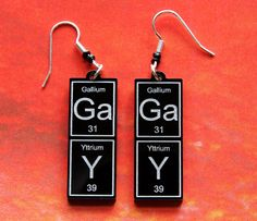 GaY   periodic table earrings