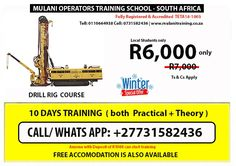 Fully registered training school of drill rig, rigger and other mining machines certificates in Durban, cape town, johannesburg | call us / whatsapp; 0731582436 for booking or more details Drilling Rig, Training School, Pretoria, Rigs, How To Apply, Cape Town, Day, Students, Free