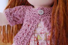 Free pattern for February Doll Sweater - mini version of the Elizabeth Zimmerman Feb Baby sweater / Pamela Wynne Feb Lady Sweater. Knitting Dolls Clothes, Knitted Dolls, Girl Doll Clothes, Doll Clothes Patterns, Doll Patterns, Clothing Patterns, Knitting Patterns, Crochet Dolls, Sewing Patterns