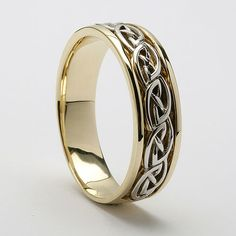 Aine Celtic Knot Inset Band (C-760) - Celtic Wedding Rings