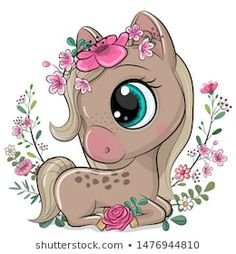 Cartoon Horse with flowers on a white background. Cute Cartoon Horse with flowers on a white background vector illustration Unicorn Drawing, Cartoon Unicorn, Cute Unicorn, Baby Animal Drawings, Cute Cartoon Drawings, Horse Cartoon Drawing, Cute Cartoon Images, Horse Flowers, Animated Gifs