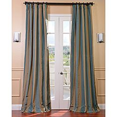 @Overstock - These drapes feature a crisp, smooth finish with wide vertical stripes. This window panel is constructed of heavy faux silk taffeta with high-quality flannel interlining and cotton lining. This curtain has a unique sheen and fine weave.  http://www.overstock.com/Home-Garden/Signature-Stripe-Marin-Faux-Silk-Taffeta-Curtain-Panel/6788367/product.html?CID=214117 $84.99