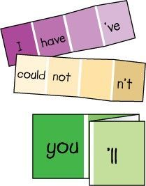 Paint Chip Contractions -- helps children practice forming contractions
