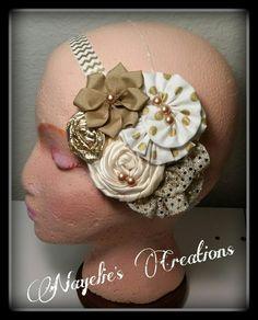 Gold, Ivory chevron headband