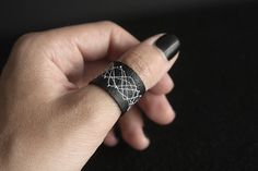 Handmade Faux Leather Ring Black with white by NeonAngelDesign