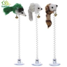 3 pcs.  Cat Toys Feather False Mouse Bottom Sucker to Hold on to Floor/Table.