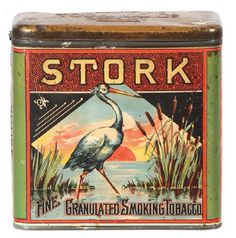 "STORK TOBACCO TIN ""Fine Granulated Smoking Tobacco"" (by American Eagle Tobacco Co., Detroit)"