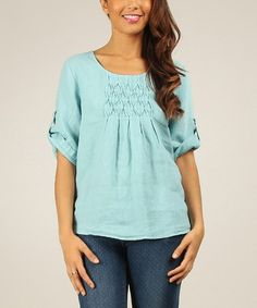 Look what I found on #zulily! Sky Linen Scoop Neck Top by Gala, $45 !! #zulilyfinds