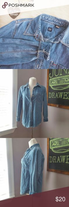 """90s Gap Denim Button Down Shirt Md Gently worn - great condition! 100% cotton. Bust 18.5"""" Length 26"""".  BUNDLE OFFERS - welcome here! Hundreds of items available for discounted bundle offers!  Follow on IG: @the.junk.drawer GAP Tops Button Down Shirts"""