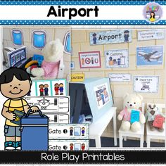 Airport printables for dramatic and pretend play - Fairy Poppins Dramatic Play Themes, Dramatic Play Area, Dramatic Play Centers, Free Preschool, Preschool Printables, Preschool Ideas, Airport Theme, Role Play Areas, Transportation Theme