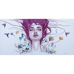 Original watercolor painting Art By Jen Duran Floral Birds Woman