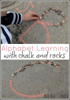 Outdoor alphabet learning for toddlers and preschoolers using chalk and rocks from And Next Comes L barnehage Alphabet Learning with Chalk & Rocks Letter E Activities, Outside Activities, Nature Activities, Outdoor Education, Outdoor Learning, Preschool Literacy, Activities For Kids, Outdoor Toddler Activities, Abc Centers
