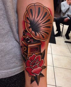 cool Phonograph done by Jonathan Montalvo at Everlasting Tattoo in San Francisco, CA.