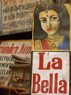 Meena Kadri, A beauty parlour sign in Delhi's Old City