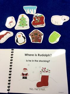 $ Where is Rudolph? Adorable repetitive Christmas story. Ask and answer where? questions with interactive pieces to peek under or an animated PowerPoint story. A packful of Christmas language activities!.