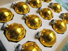 Vintage Set Of 12 Gold Shiny Brite Christmas by AuntSuesVintage, $12.99