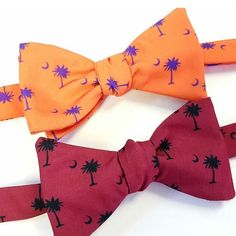 Today's the big day! Be the first to guess the final score and win one of these Carolina and Clemson bow ties! #giveaway #clemson #carolina #gameday #usc #gamecocks #clemsontigers #bowtiegiveaway