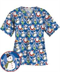 UA Frosted Friends Royal Print Scrub Top