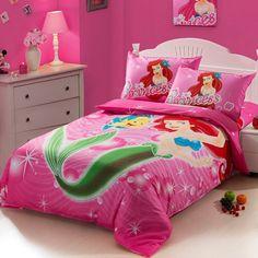 Little Mermaid Bedding | The little Mermaid hot pink Kids girls cartoon baby bedding set twin ...