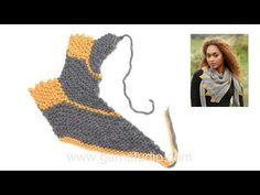 How to knit a shawl in garter stitch with leaves - sideways - YouTube